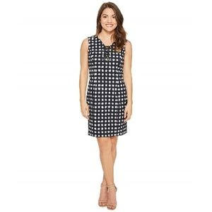 Tahari by ASL Navy and White Printed Lace-Up Dress